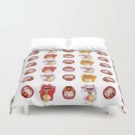Colorful Maneki - neko pattern design Duvet Cover