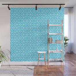 Aqua Blue and White Greek Key Pattern Wall Mural