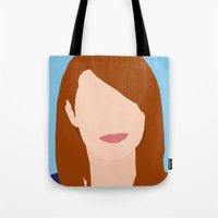 emma stone Tote Bags featuring Emma Stone Digital Portrait by RoarsAdams