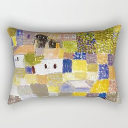 Sicilian Mediterranean Seaside Modern Landscape by Paul Klee Rectangular Pillow
