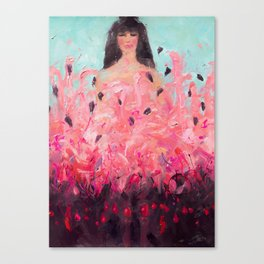 Pink Thoughts (A girl with flamingos) Canvas Print