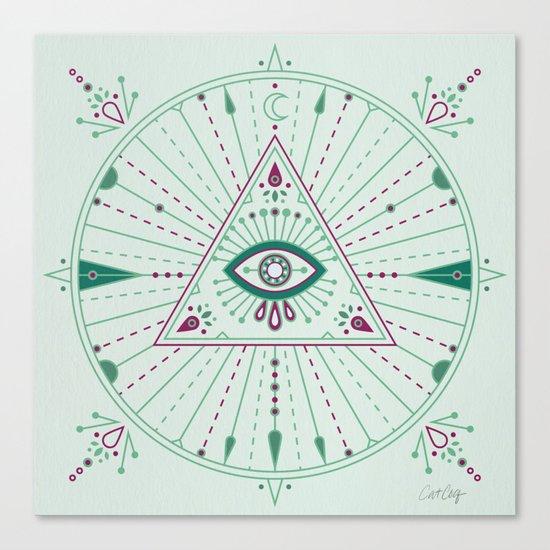 Evil Eye Mandala – Mint Canvas Print
