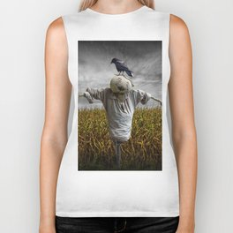 Scarecrow with Black Crows over a Cornfield Biker Tank