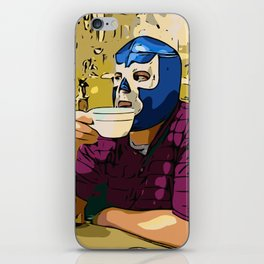 Blue Demon Luchador Coffee Break iPhone Skin