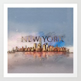 New York City Skyline - mixed media Art Print