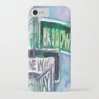 broadway iPhone & iPod Cases featuring Broadway Sign by Dorrie Rifkin Watercolors