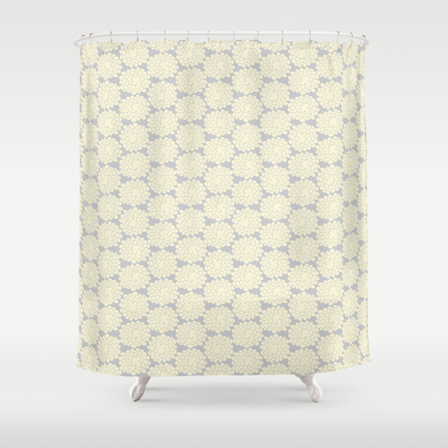 White Cotton Flower Shower Curtain