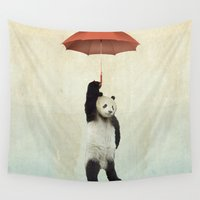 princess Wall Tapestries featuring Pandachute by Vin Zzep