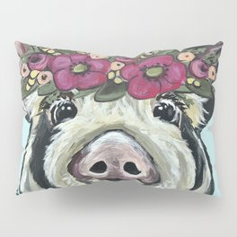 Cute Pig Art, Flower Crown Pig Art Pillow Sham