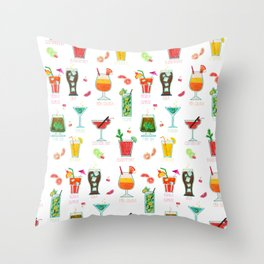 Happy hour..s cocktails illustration Throw Pillow