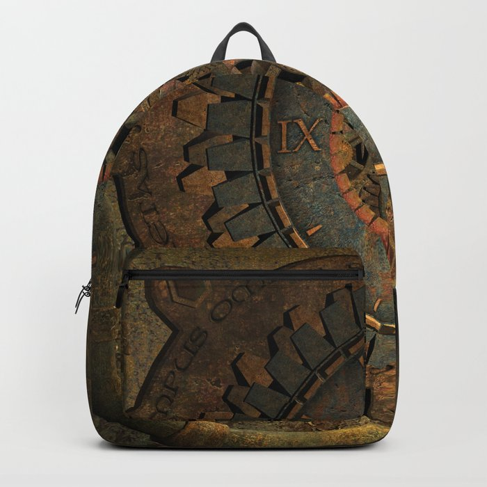 Steampunk, awesome clock, rusty metal Backpack