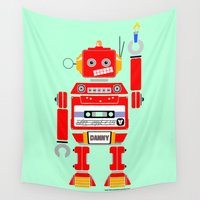 danny haas Wall Tapestries featuring 80s Mix Tape Robot - Danny by Kenneth Shinabery