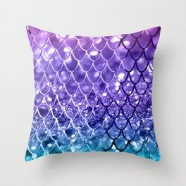 Mermaid Scales on Unicorn Girls Glitter #19 #shiny #decor #art #society6 Throw Pillow
