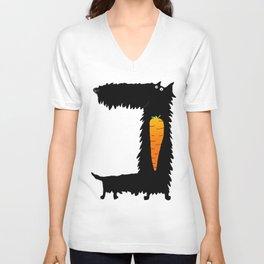 Carrot Crunching Scottie Dog Unisex V-Neck
