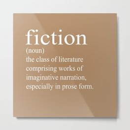 Fiction Definition (White on Tan) Metal Print