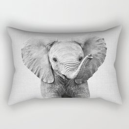 Baby Elephant - Black & White Rectangular Pillow