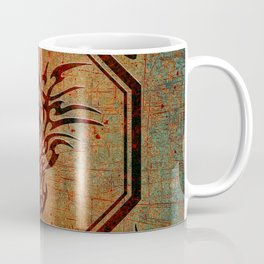 Tribal Dragon Head In Octagon With Dragon Chinese Characters Coffee Mug