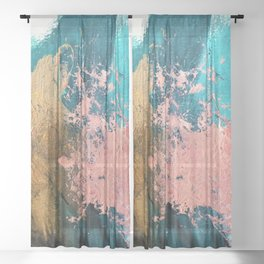 Coral Reef [1]: colorful abstract in blue, teal, gold, and pink Sheer Curtain