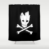 groot Shower Curtains featuring Groot & Bones by The Cracked Dispensary