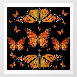 ABSTRACT ORANGE MONARCH BUTTERFLIES BLACK  PATTERNS Art Print