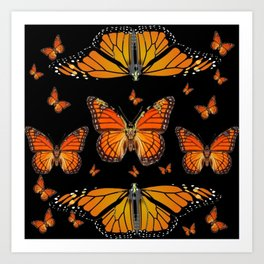ABSTRACT ORANGE MONARCH BUTTERFLIES BLACK  PATTERNS Art Print