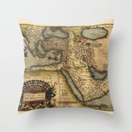 Map Of The Middle East 1600 Throw Pillow
