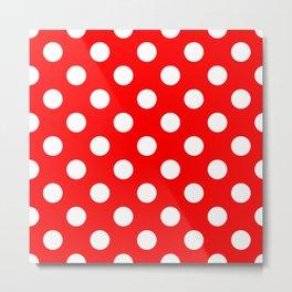 Red - White Polka Dots - Pois Pattern Metal Print