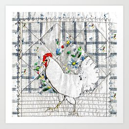 Rooster in blue & white Art Print