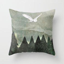 Snowy Owl Landscape Throw Pillow