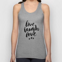 Live Laugh Love black and white wall hangings typography design home wall decor bedroom Unisex Tank Top