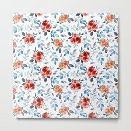 Country orange blue watercolor hand painted flowers Metal Print