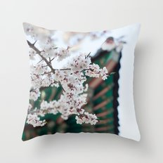 Blossoms Near the Bell, Seoul Korea Throw Pillow