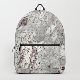 Milky Gray // Red Speckled River Of Marble Natural Stones Rock Textures Backpack