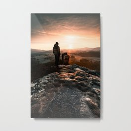 Overlooking the foggy beautiful sunrise in the winter  Metal Print