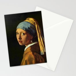 Girl with a Pearl Earring old painting Stationery Cards