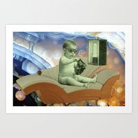 toddler Art Prints featuring Toddler Time Machine by Ira Carter