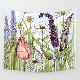 Lady Slipper Orchid Woodland Wildflower Watercolor Wall Tapestry