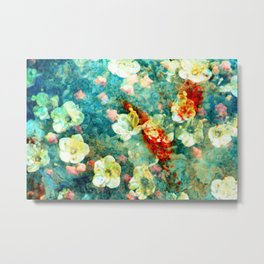 White Flowers on Turquoise Plant Metal Print
