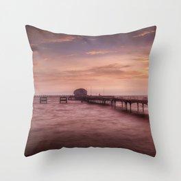 Daybreak at Mumbles Pier Throw Pillow