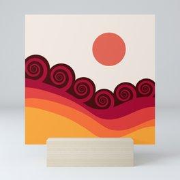 Retro colorful ocean waves Mini Art Print