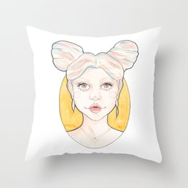 Clio, a Girl with Pink and Blue Streaked Blonde Hair Throw Pillow
