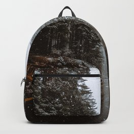 Snowing Forest Road Backpack