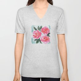 Farmhouse and Shabby Chic Rose Bouquet Chintz Rose Florals American Country English Unisex V-Neck