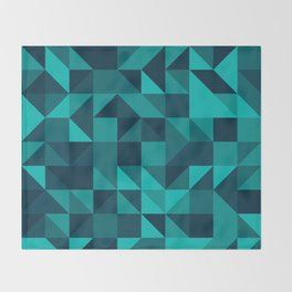 The bottom of the ocean - Random triangle pattern in shades of blue and turquoise  Throw Blanket