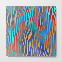 Colored Zebra Pattern Metal Print