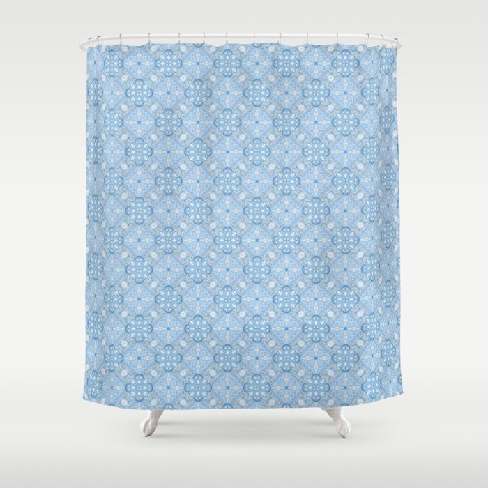 Winter Geometric Seamless Pattern in Light Blue Shower Curtain by ...
