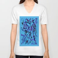 carousel V-neck T-shirts featuring Carousel by Art by Mel