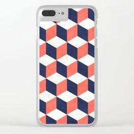 Geometric Cube Pattern  - Coral, White, Blue Concrete Clear iPhone Case