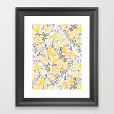 Sunny Yellow Crayon Striped Summer Floral Framed Art Print