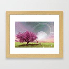3d illustration conceptual of a girl walking in fantasy field Framed Art Print
